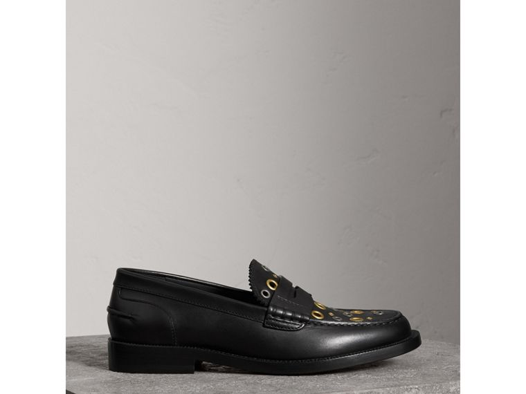 Eyelet Detail Leather Penny Loafers in Black - Women | Burberry United Kingdom - cell image 4