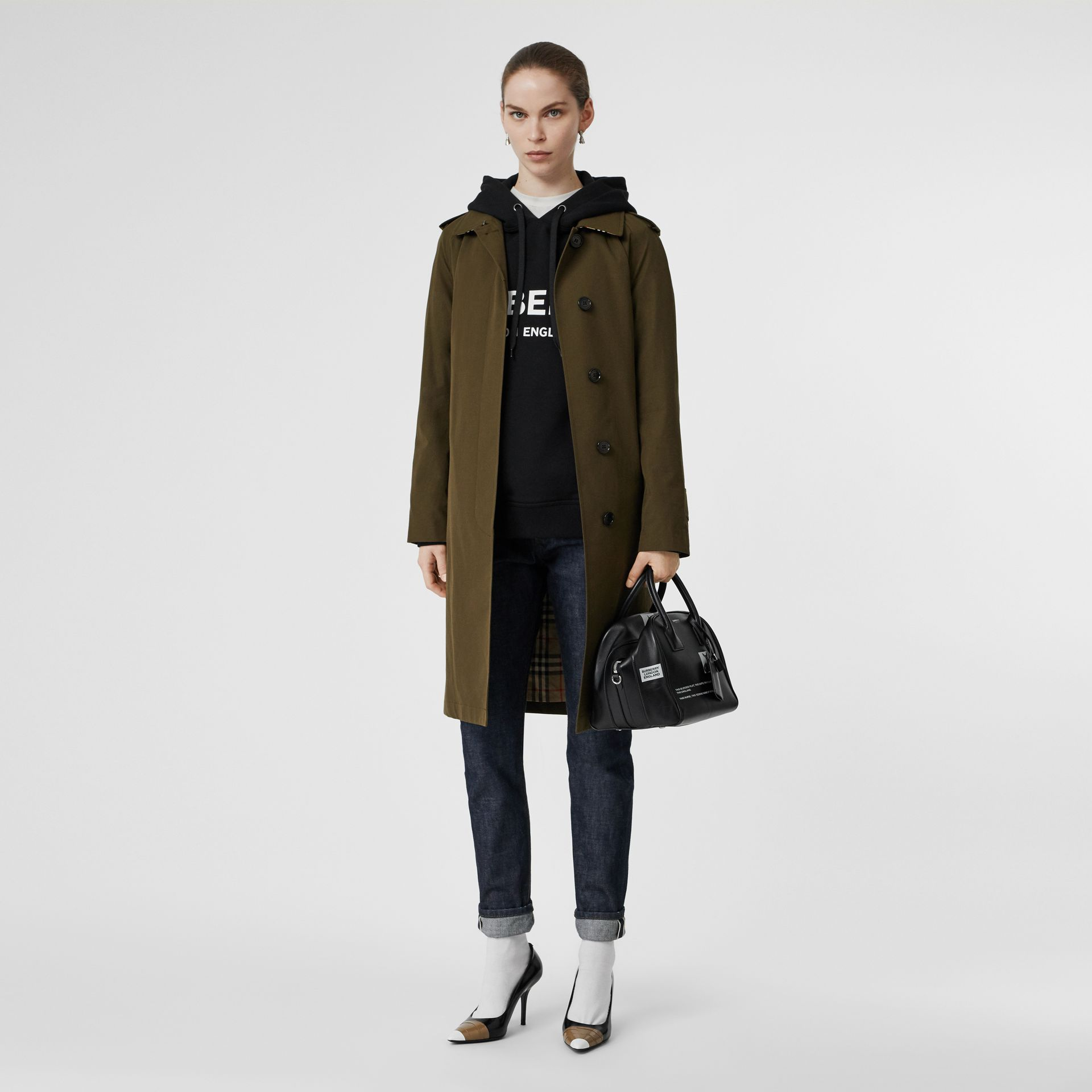 Tropical Gabardine Belted Car Coat in Dark Military Khaki - Women | Burberry - gallery image 0