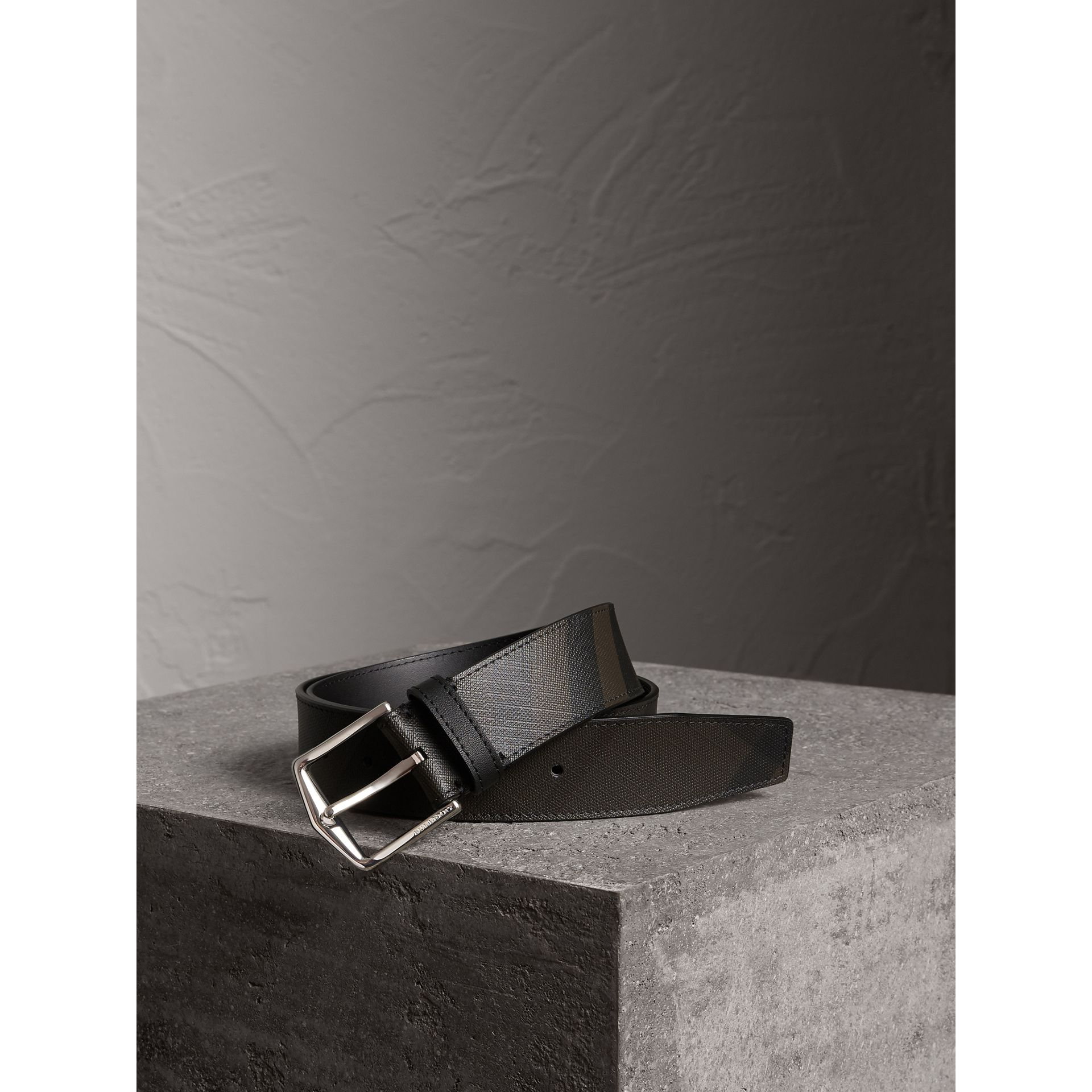 Leather Trim London Check Belt in Chocolate/black - Men | Burberry Canada - gallery image 0