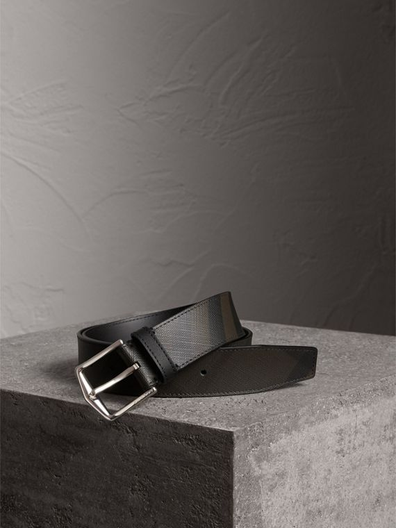 Leather Trim London Check Belt in Chocolate/black