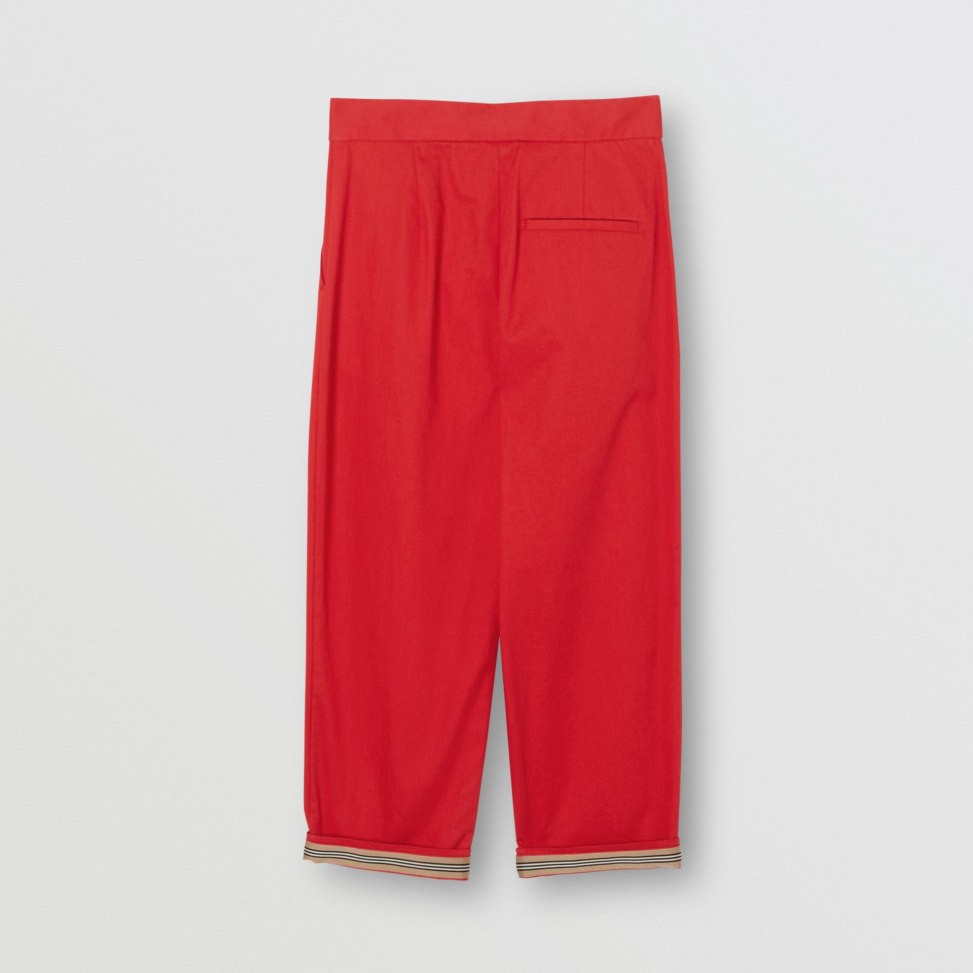 Cotton Twill Tapered Trousers in Bright Red | Burberry Australia - gallery image 2