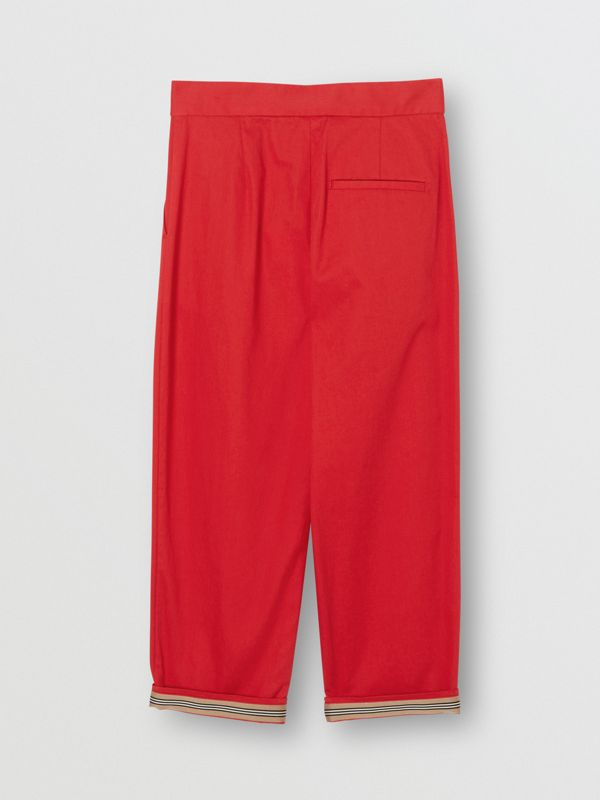 Cotton Twill Tapered Trousers in Bright Red | Burberry - cell image 2