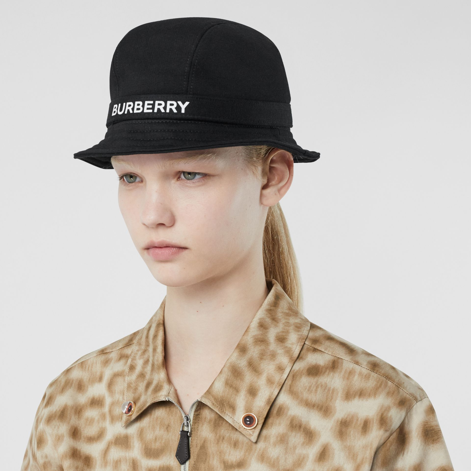 Logo Detail Bucket Hat in Black | Burberry - gallery image 2