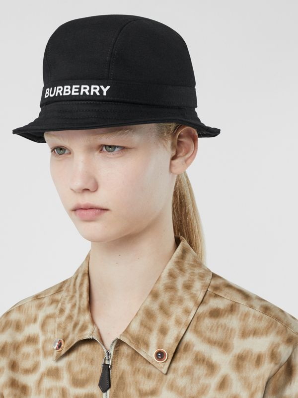 Logo Detail Bucket Hat in Black | Burberry - cell image 2