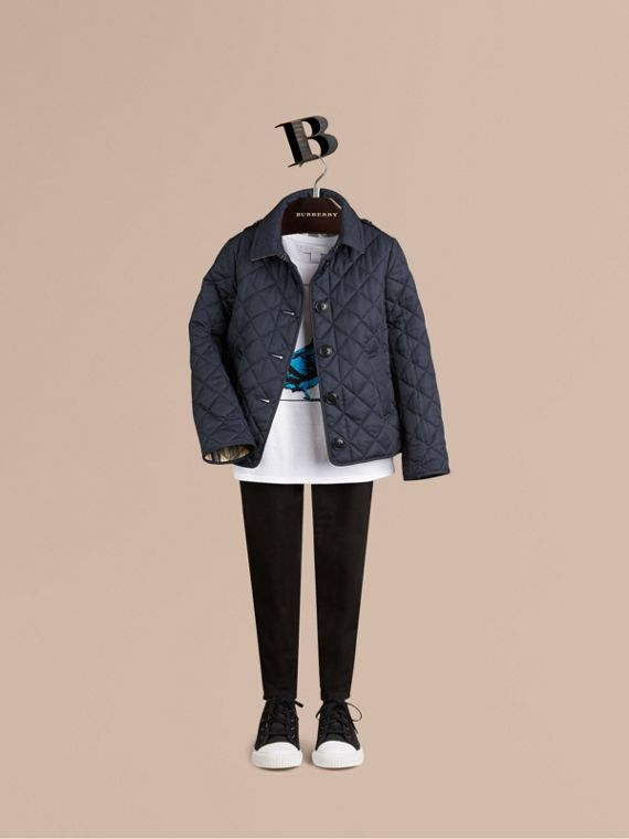Check Lined Diamond Quilted Jacket in Navy