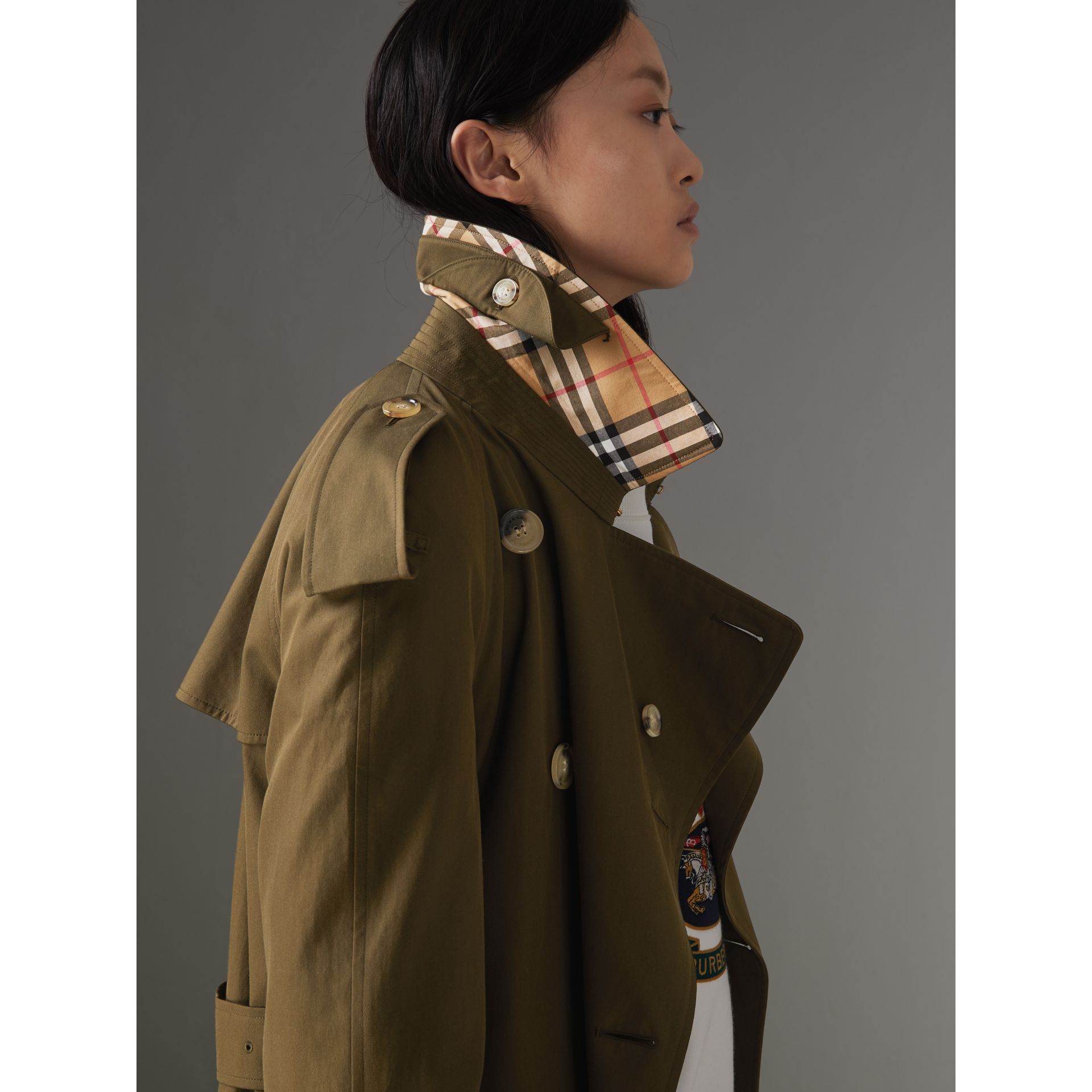 The Long Westminster Heritage Trench Coat in Dark Military Khaki - Women | Burberry - gallery image 1