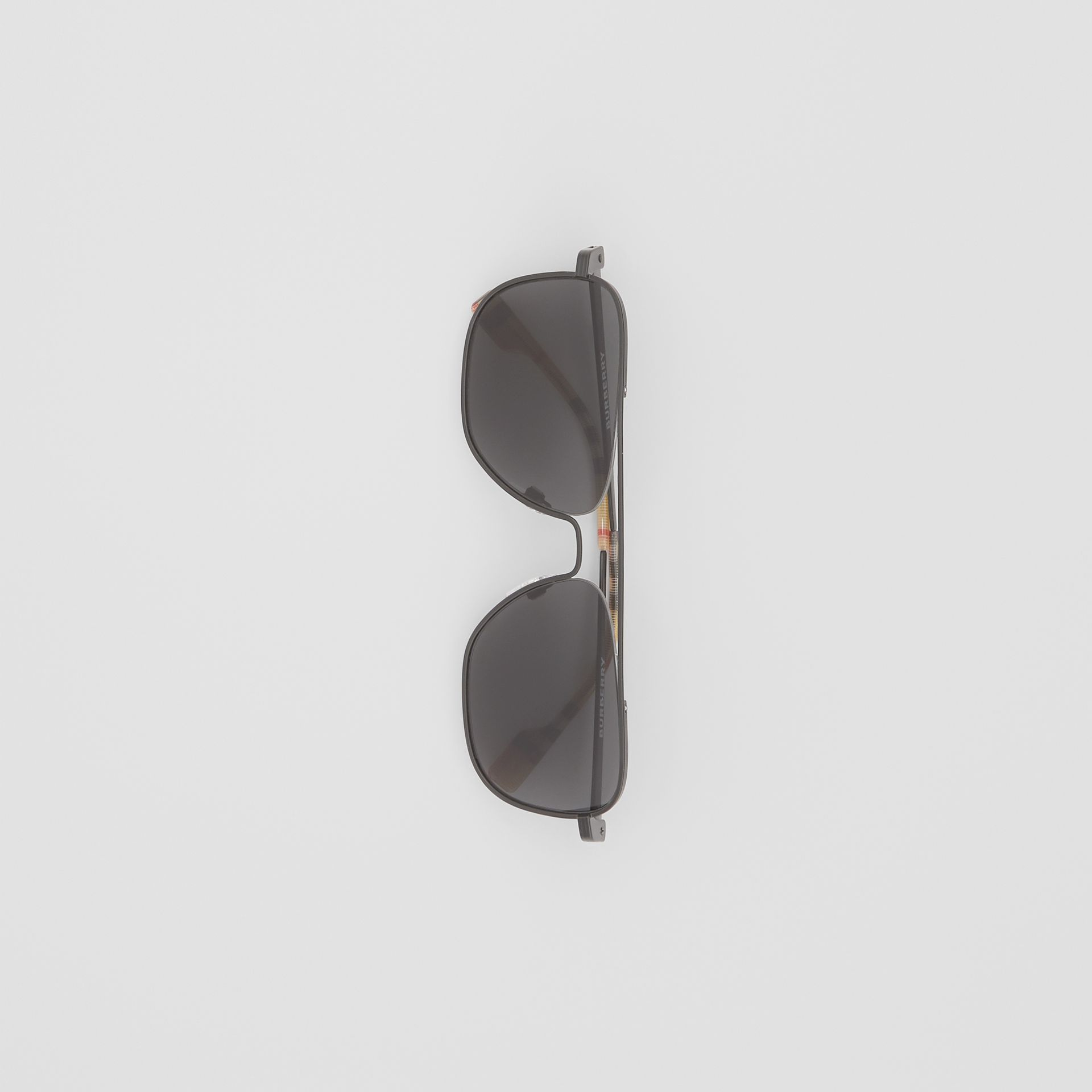 Top Bar Detail Square Frame Sunglasses in Matte Black - Men | Burberry Canada - gallery image 2