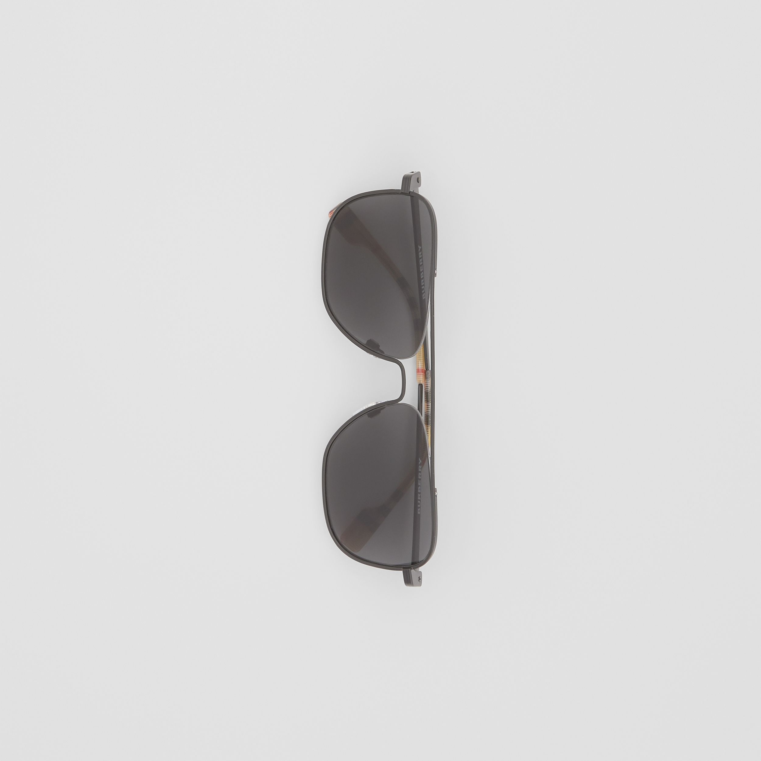 Top Bar Detail Square Frame Sunglasses in Matte Black - Men | Burberry - 3