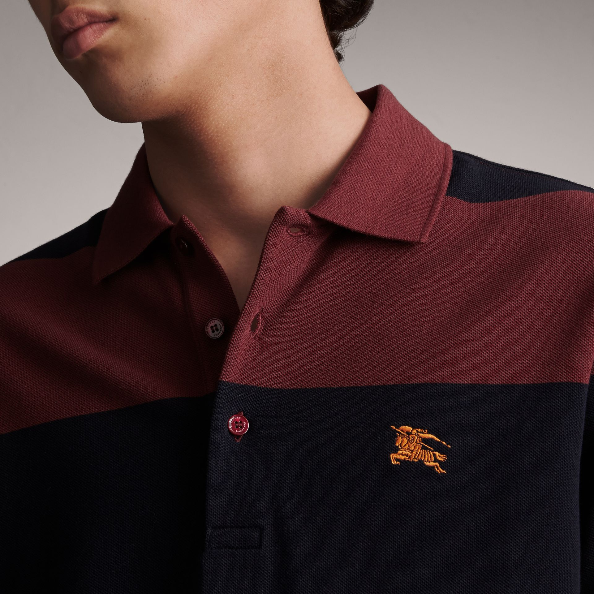 Striped Cotton Piqué Polo Shirt in Burgundy/navy - Men | Burberry Singapore - gallery image 4