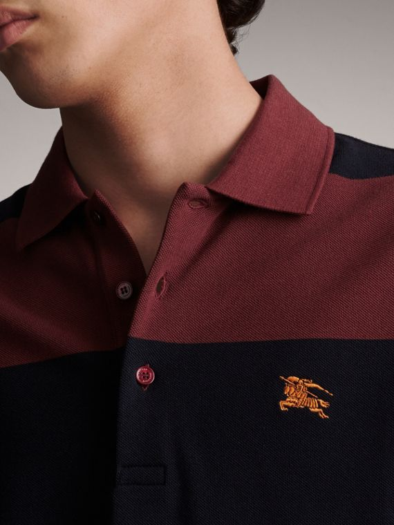 Striped Cotton Piqué Polo Shirt in Burgundy/navy - Men | Burberry - cell image 3