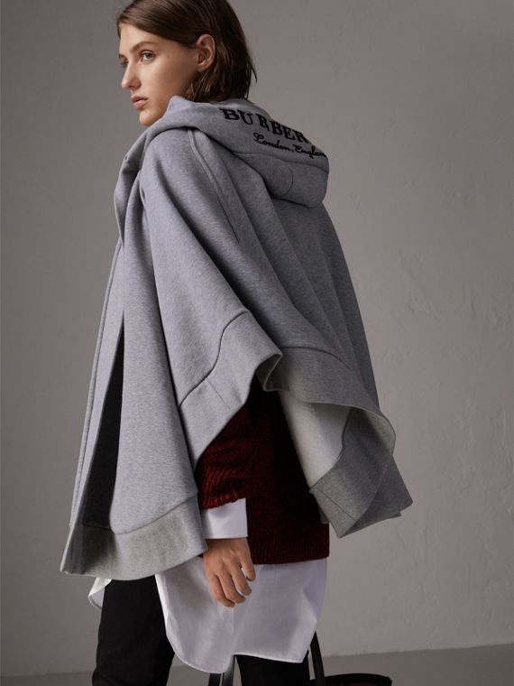 Embroidered Jersey Hooded Cape in Pale Grey Melange | Burberry - cell image 2