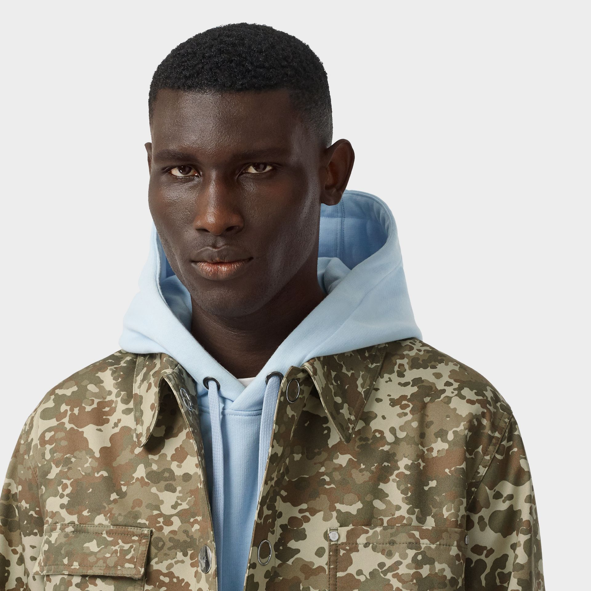 Camouflage Print Cotton Gabardine Field Jacket in Khaki Green - Men | Burberry - gallery image 7