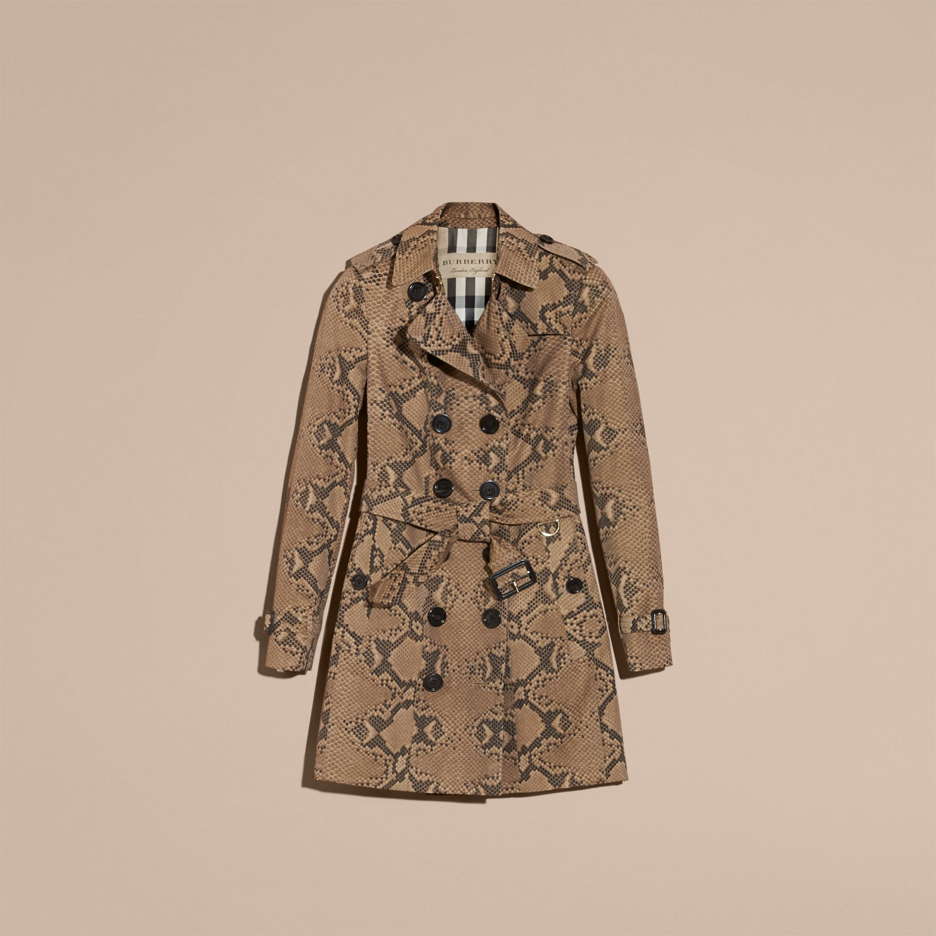 Honey/black Python Print Cotton Trench Coat - gallery image 4