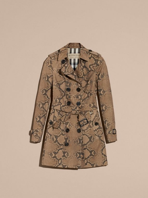 Honey/black Python Print Cotton Trench Coat - cell image 3