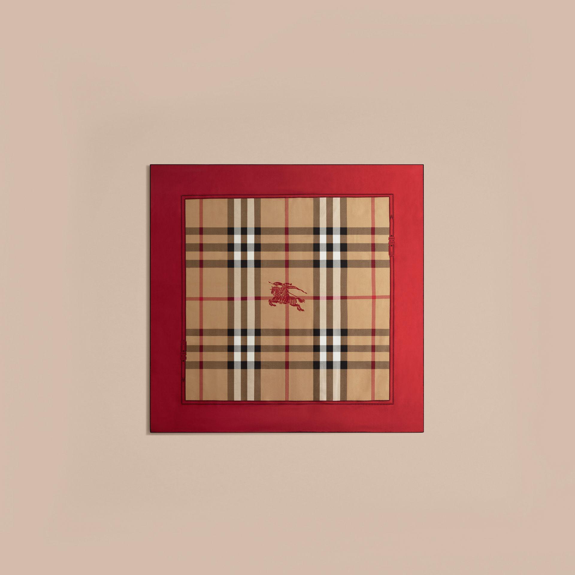 Bright military red Horseferry Check Silk Square – Medium Bright Military Red - gallery image 4