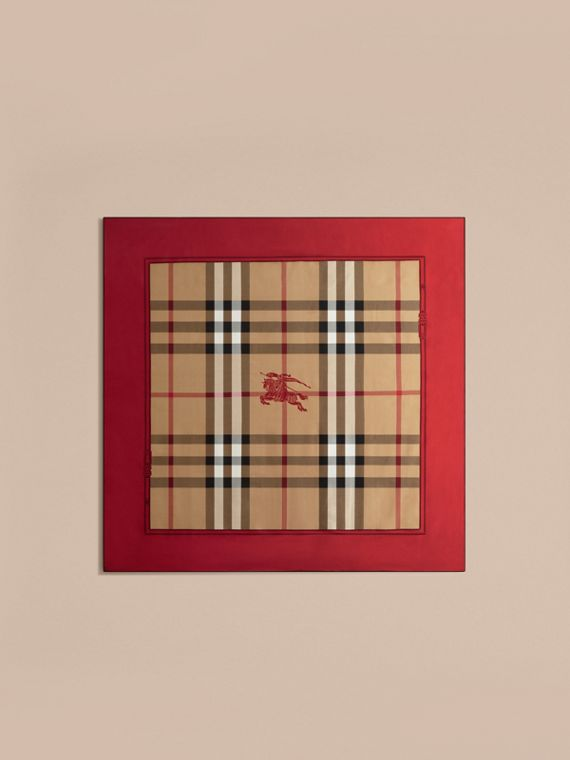 Bright military red Horseferry Check Silk Square – Medium Bright Military Red - cell image 3
