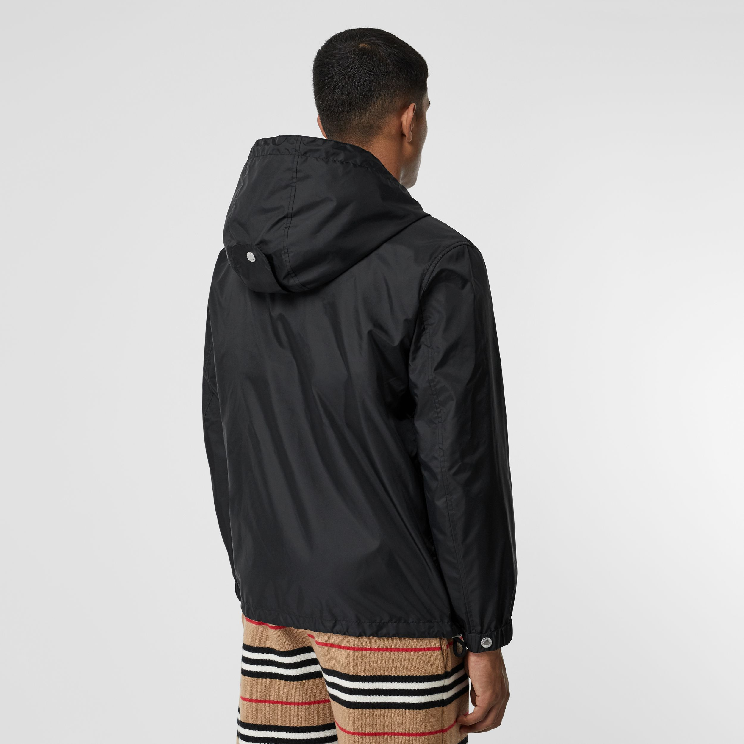 Icon Stripe Detail Nylon Canvas Hooded Jacket in Black - Men | Burberry - 3