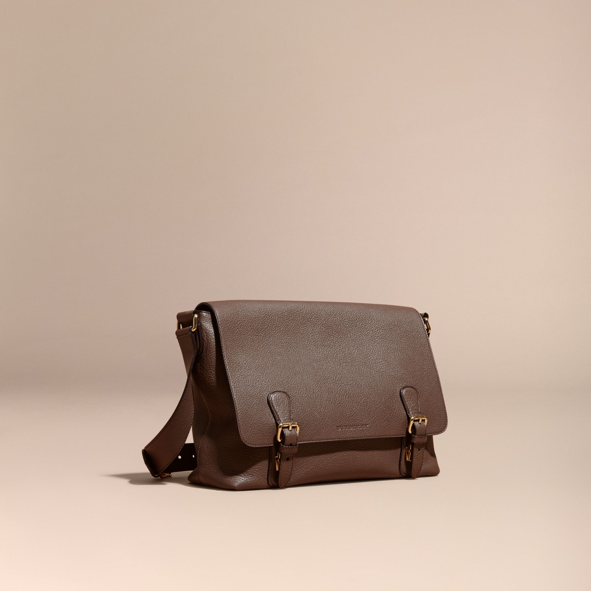 Deep taupe brown Grainy Leather Messenger Bag Deep Taupe Brown - gallery image 1