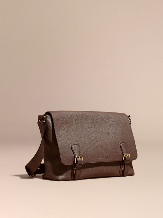 Grainy Leather Messenger Bag Deep Taupe Brown