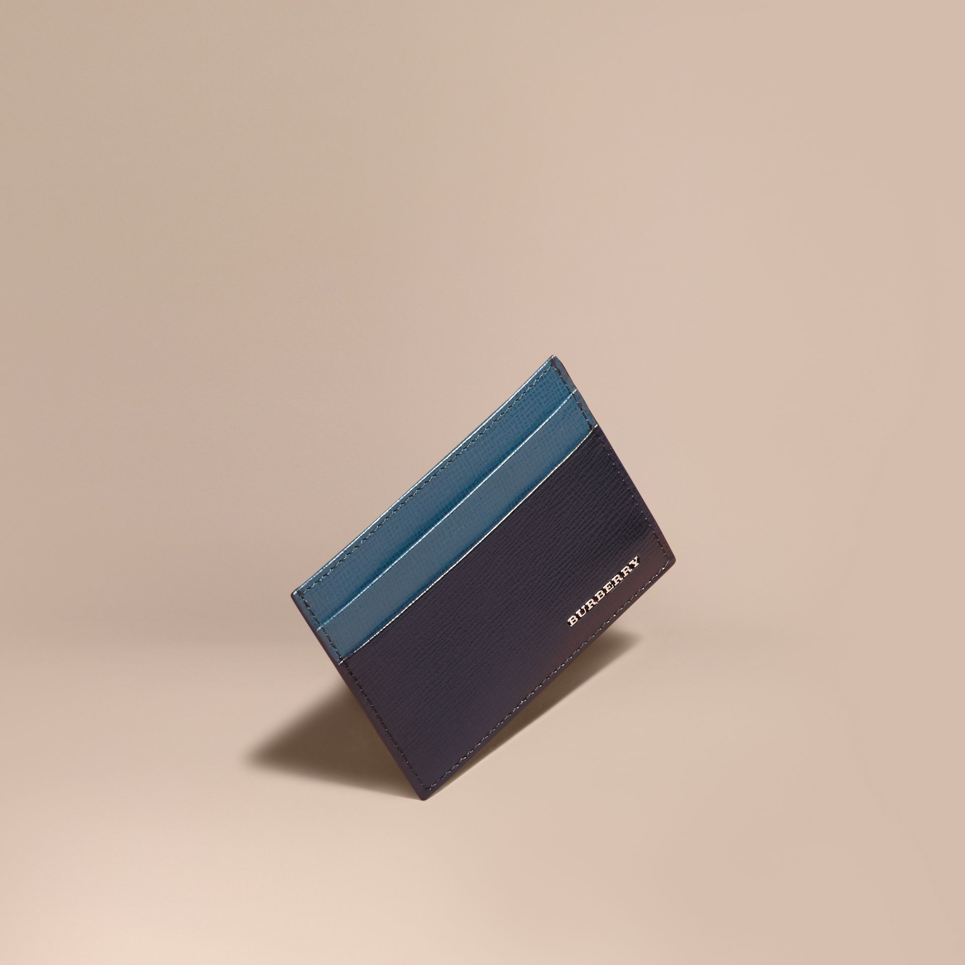 Dark navy/mineral blue Colour Block London Leather Card Case Dark Navy/mineral Blue - gallery image 1