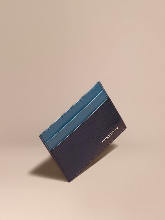 Two-tone London Leather Card Case Dark Navy/mineral Blue