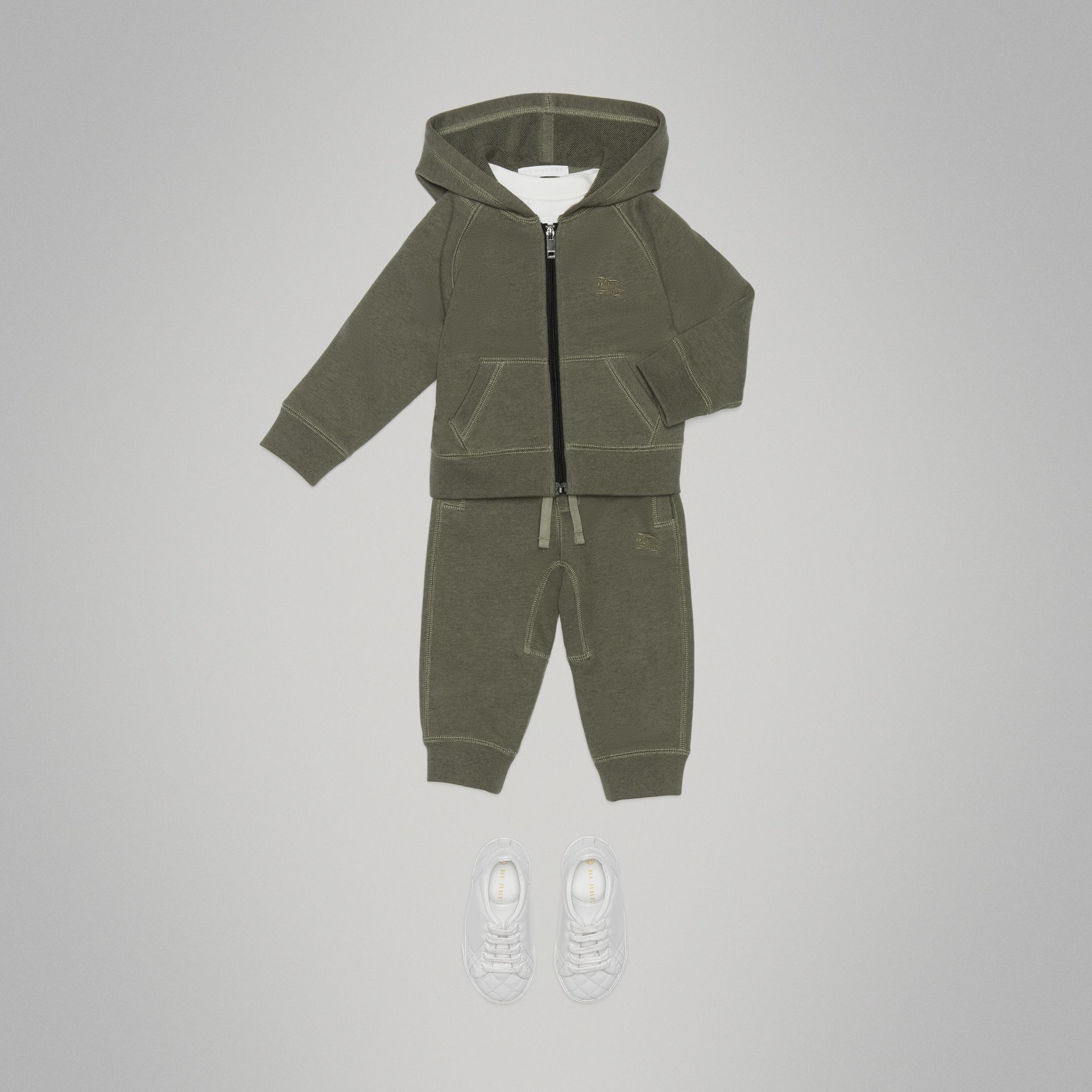 Cotton Jersey Hooded Top in Olive Melange - Children | Burberry - gallery image 2