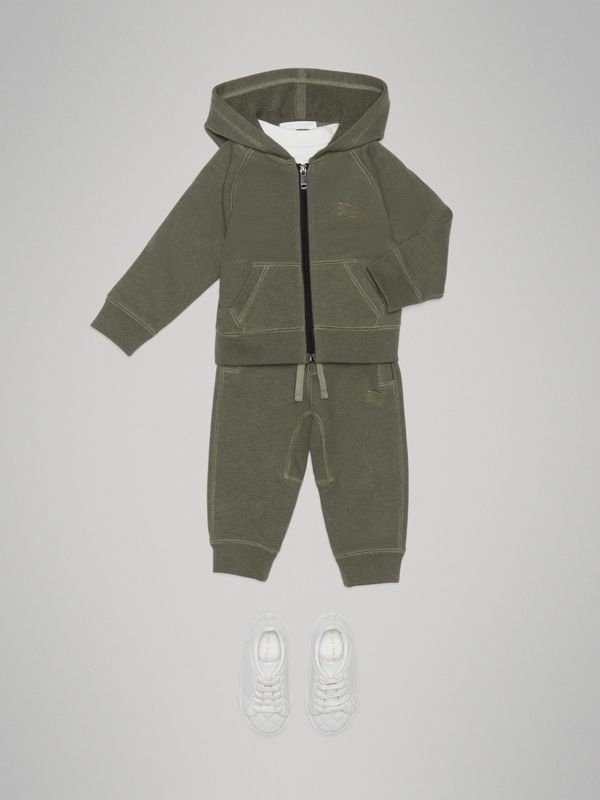 Cotton Jersey Hooded Top in Olive Melange - Children | Burberry - cell image 2