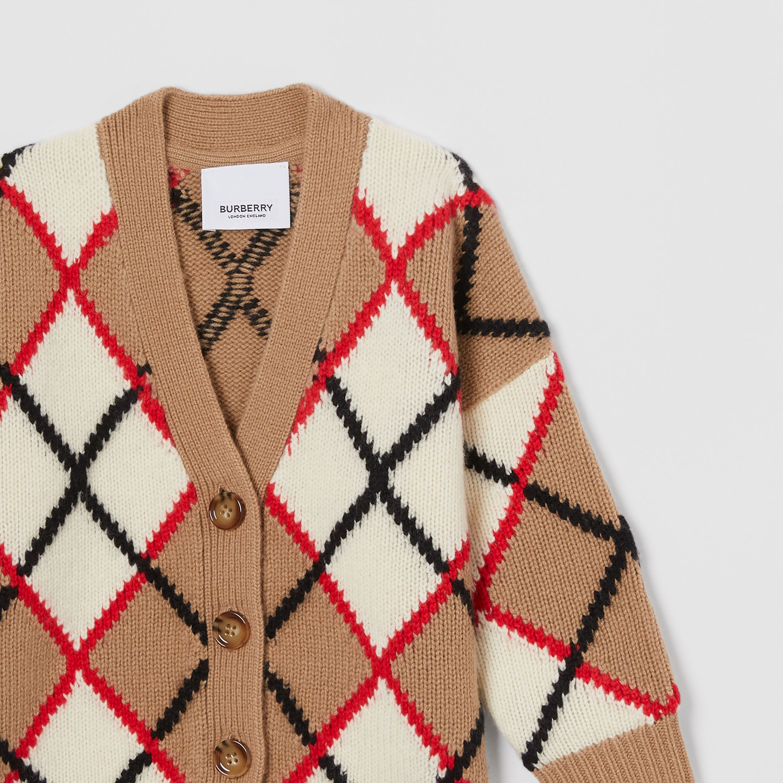 Argyle Intarsia Wool Cashmere Cardigan in Camel - Children | Burberry - 4