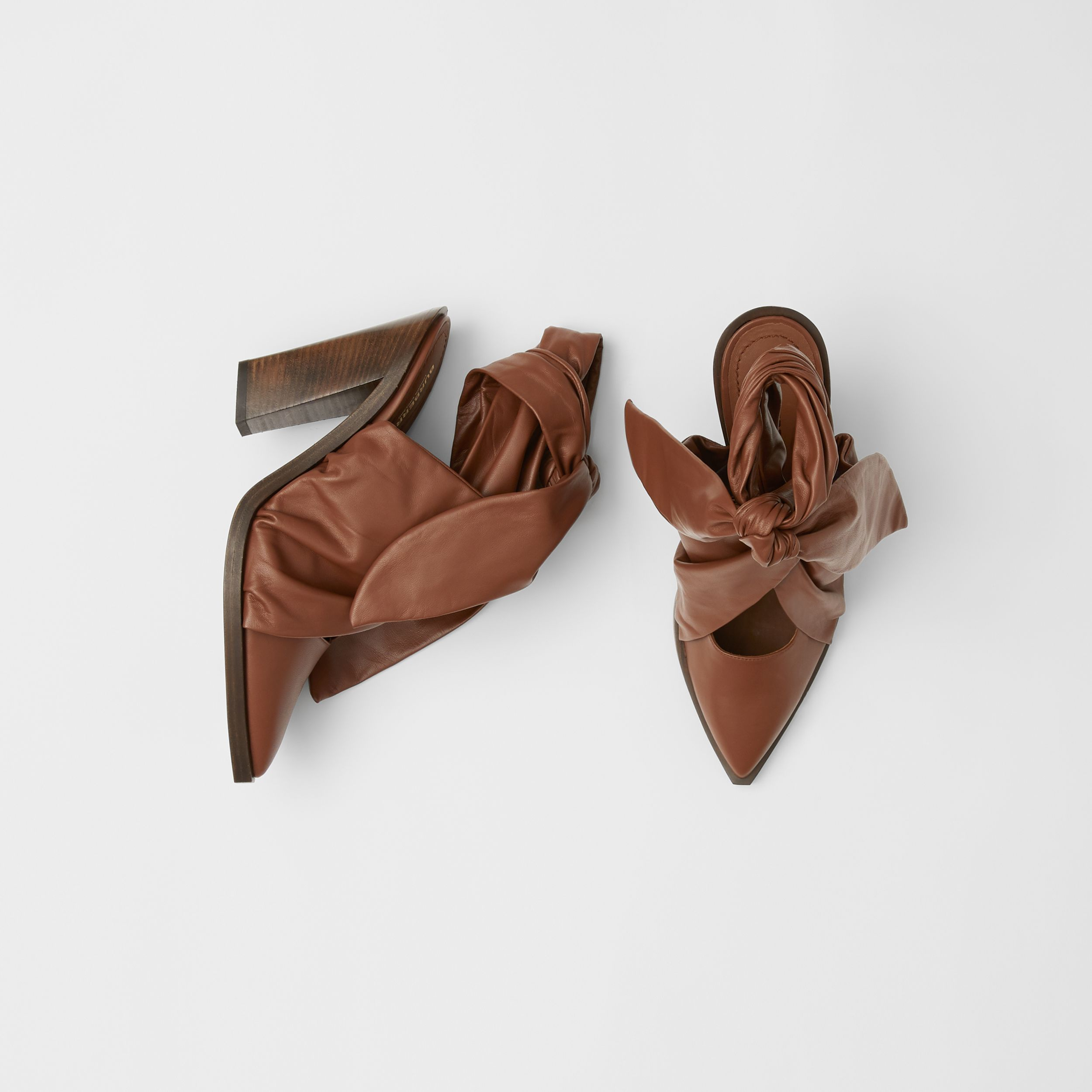 Scarf Tie Detail Lambskin Point-toe Mules in Tan - Women | Burberry - 1