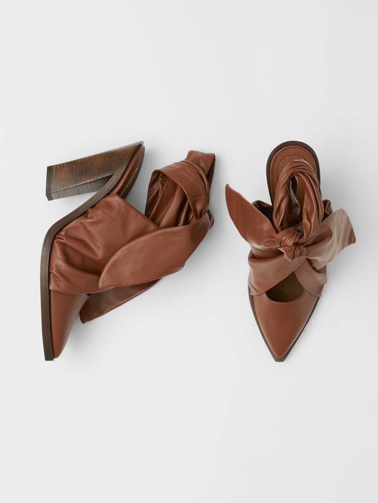 Scarf Tie Detail Lambskin Point-toe Mules in Tan