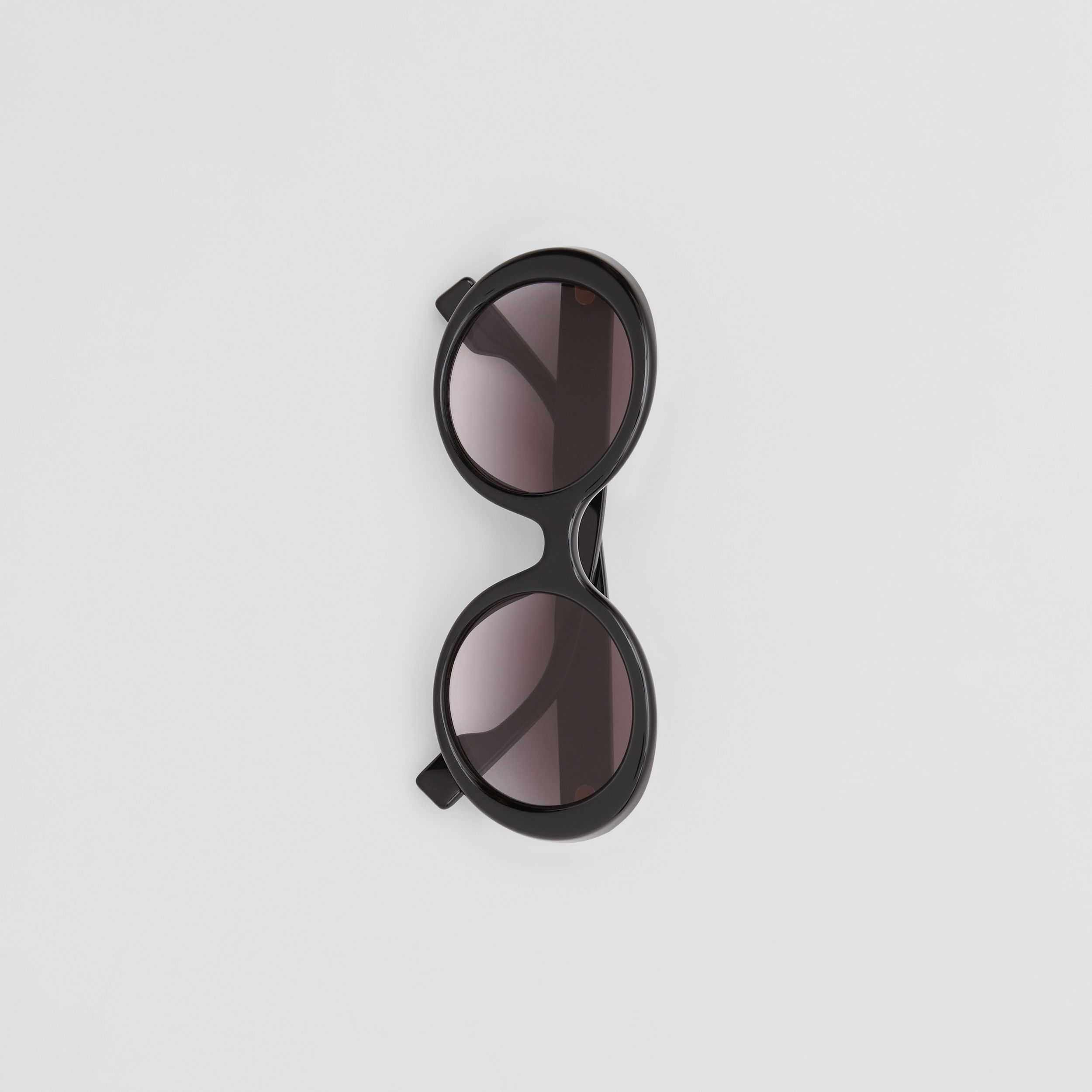 Oversized Round Frame Sunglasses in Black - Women | Burberry - 4