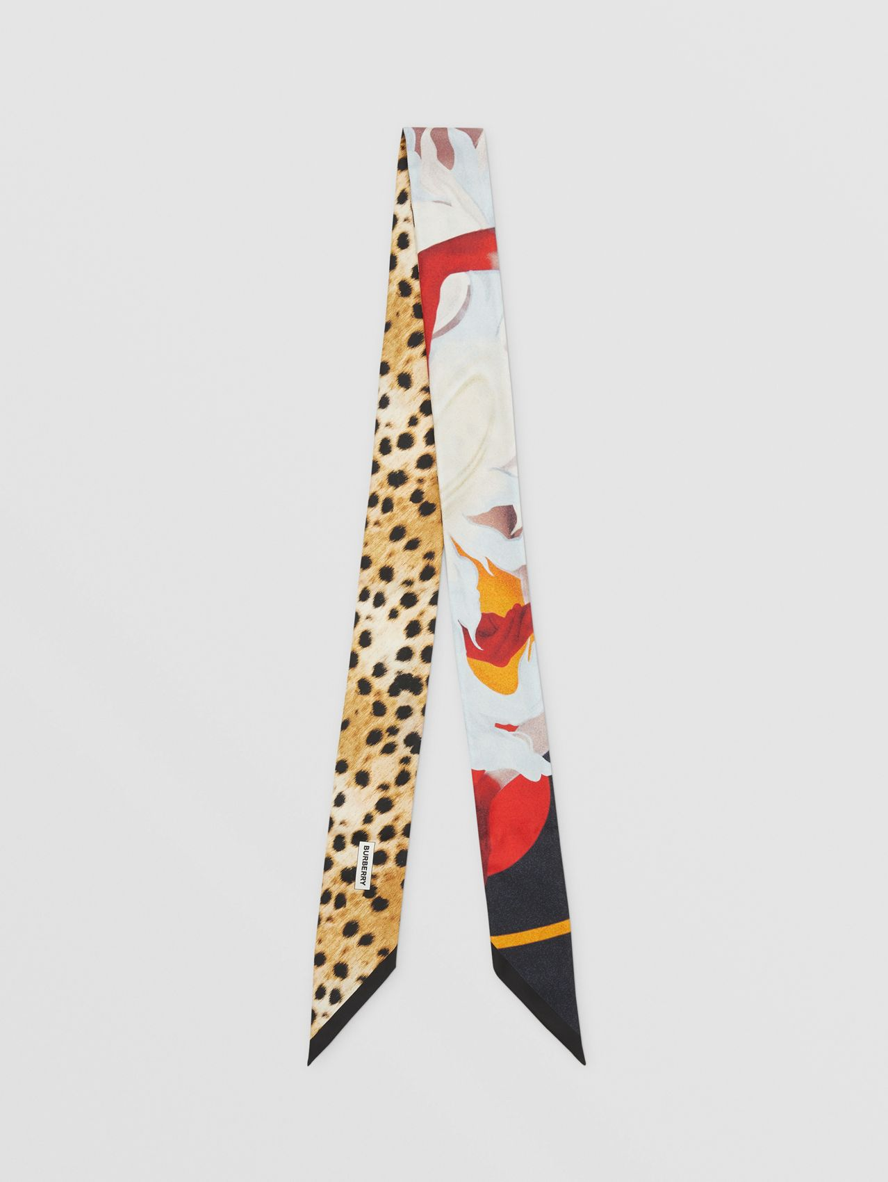 Montage Print Silk Skinny Scarf in Multicoloured
