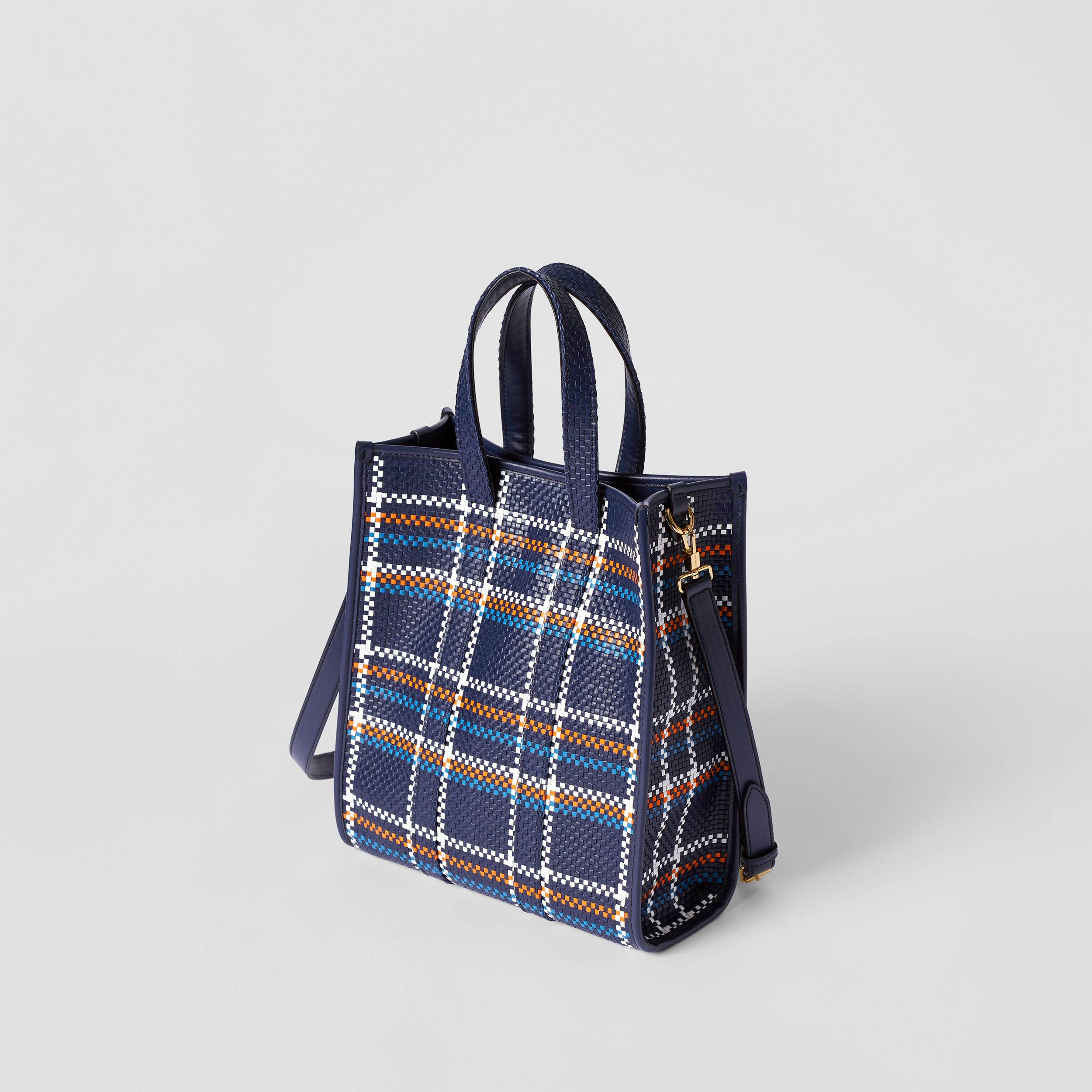 Small Latticed Leather Portrait Tote Bag in Blue/white/orange - Women | Burberry - 3