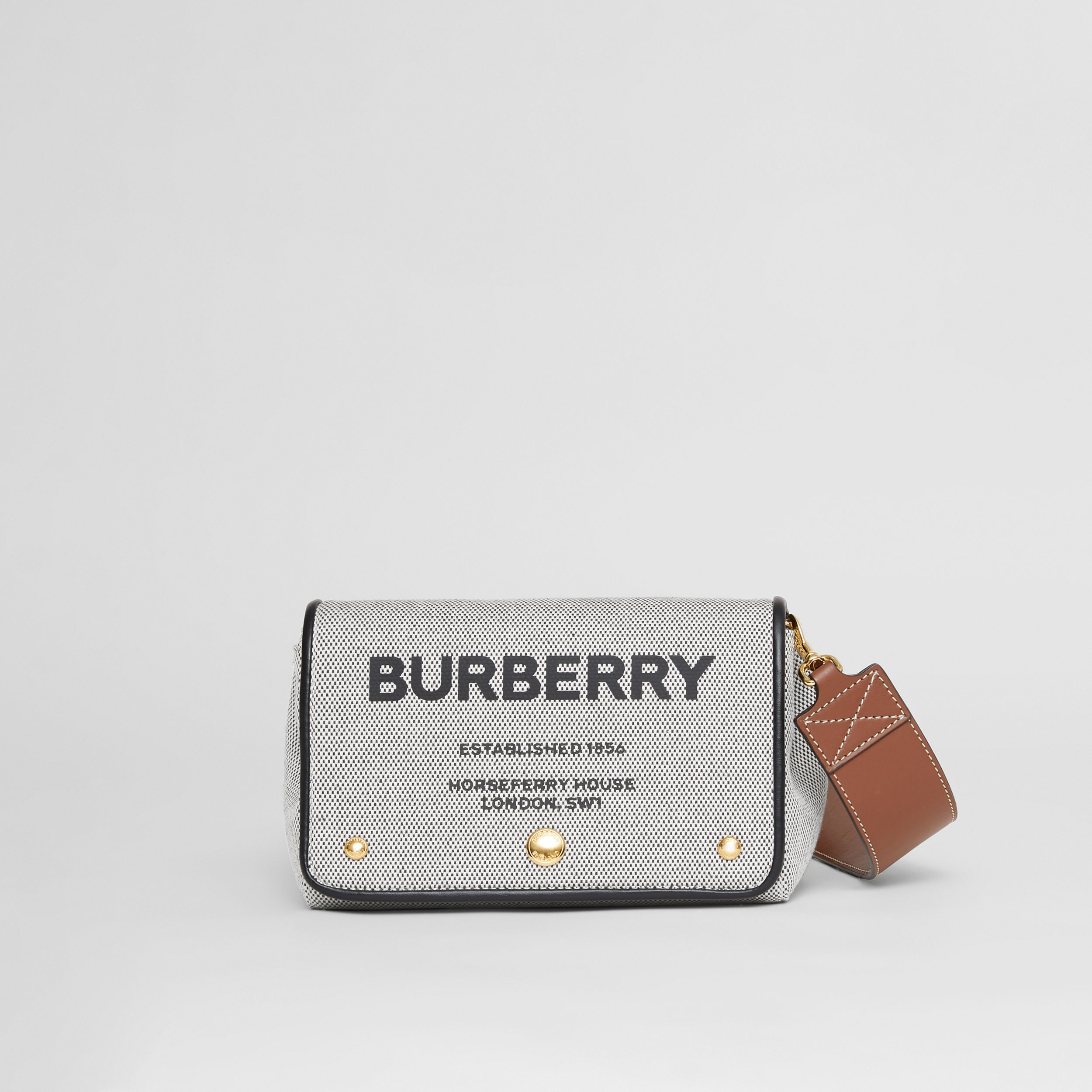 Small Horseferry Print Cotton Canvas Crossbody Bag in Black/tan | Burberry - 1