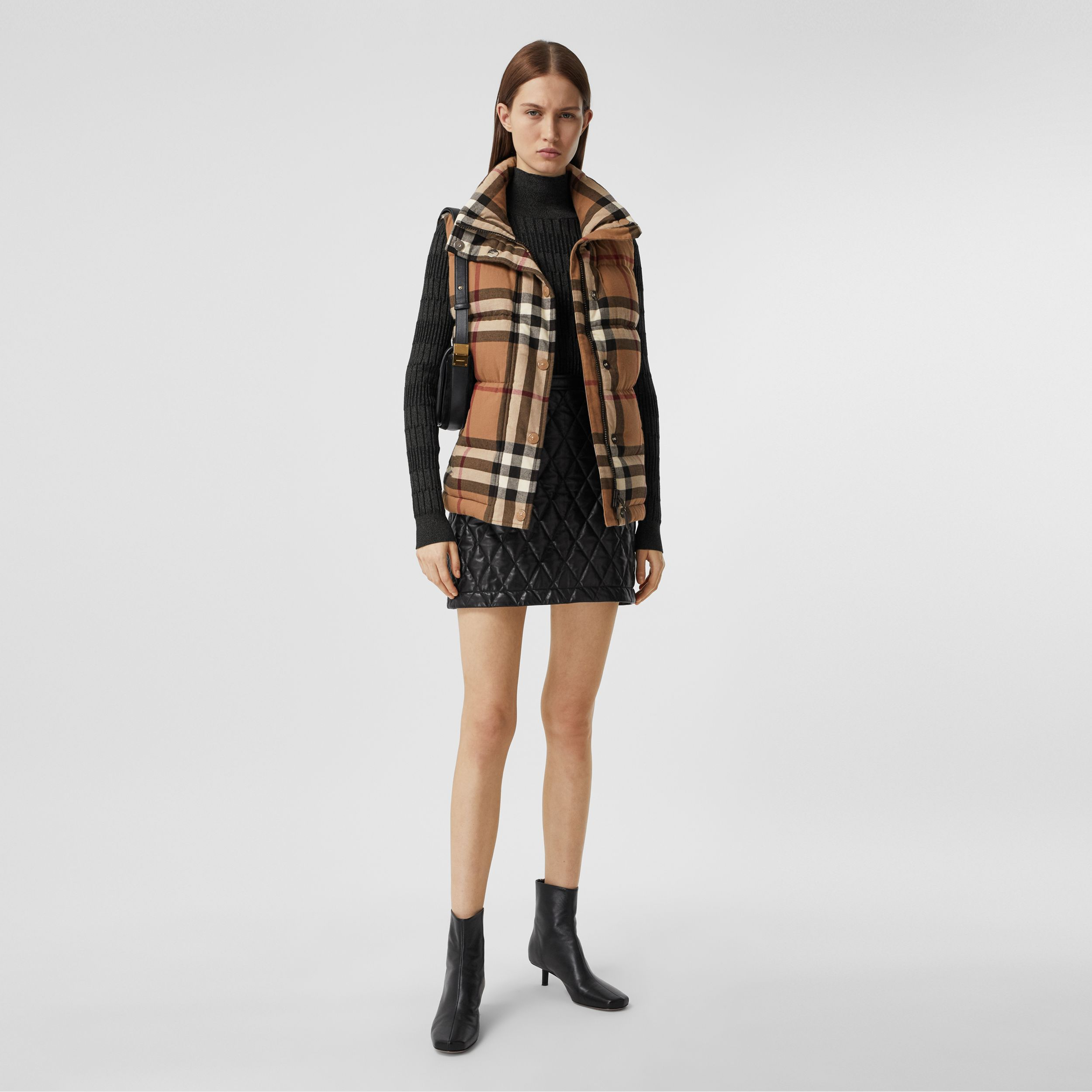 Check Cotton Flannel Puffer Gilet in Birch Brown - Women | Burberry - 1