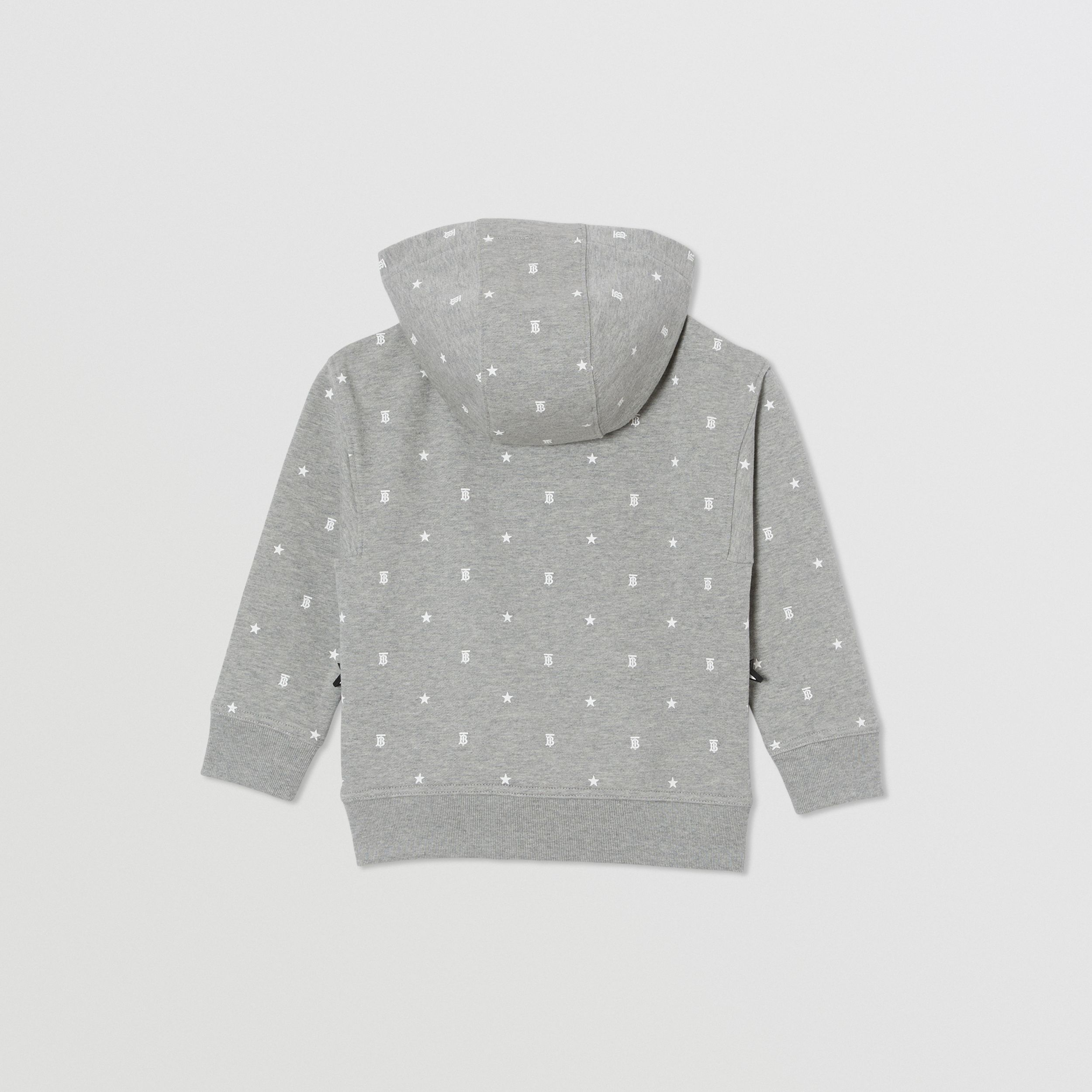 Star and Monogram Print Cotton Hooded Top in Grey | Burberry - 4
