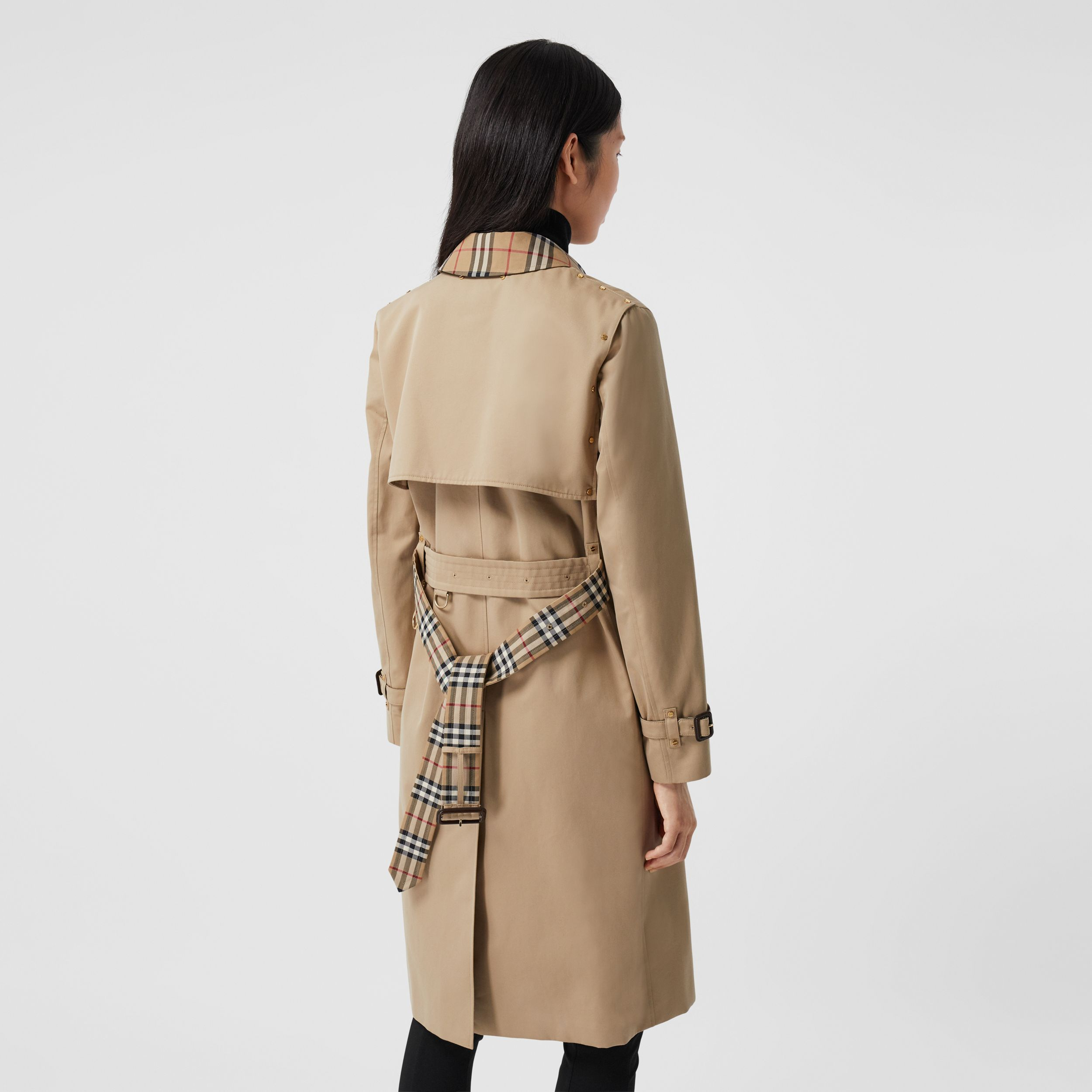Vintage Check Panel Cotton Gabardine Trench Coat in Honey - Women | Burberry United Kingdom - 3
