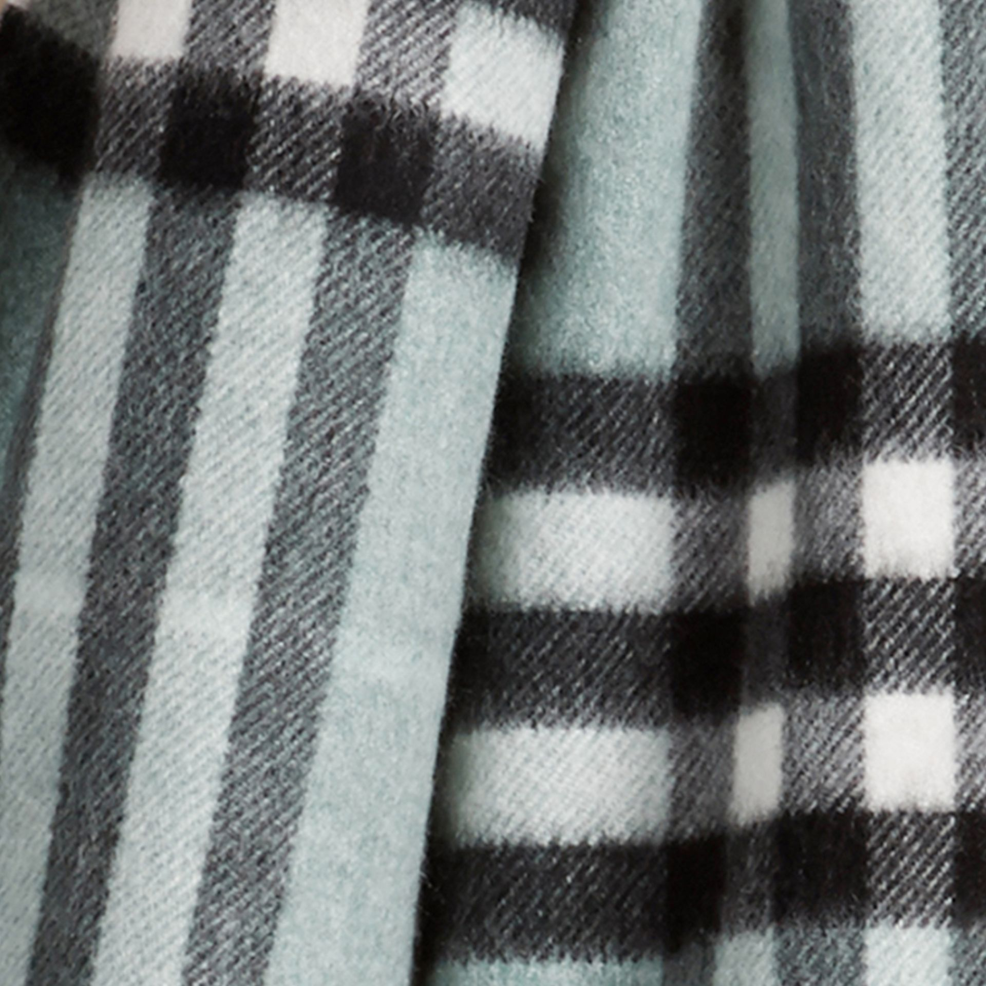 The Mini Classic Cashmere Scarf in Check Dusty Mint - gallery image 3