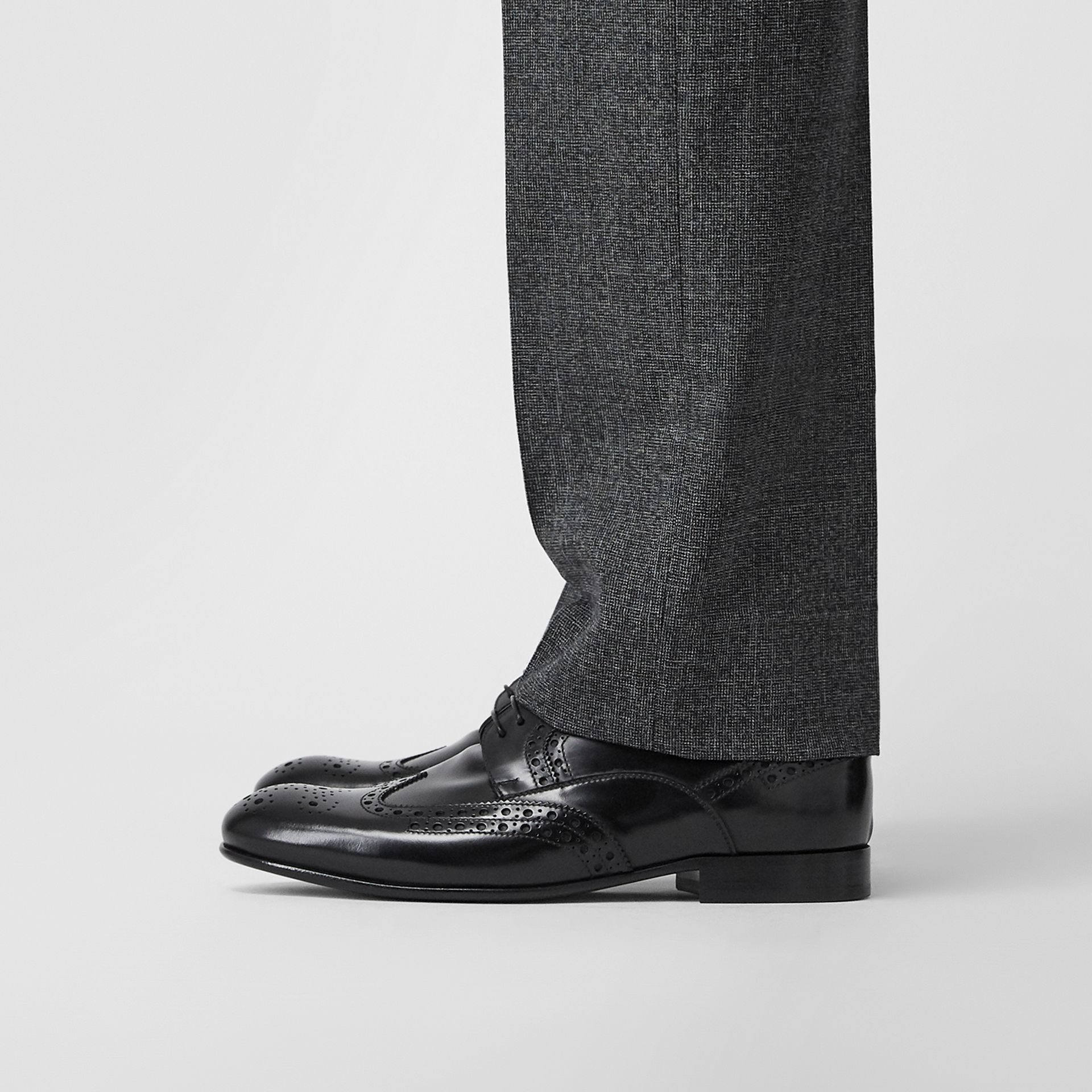 Brogue Detail Leather Derby Shoes in Black - Men | Burberry United Kingdom - gallery image 2