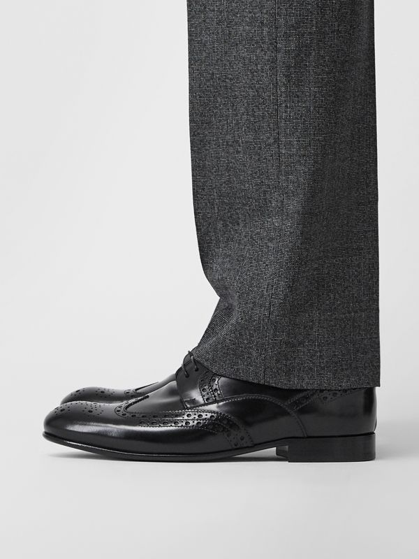 Brogue Detail Leather Derby Shoes in Black - Men | Burberry United Kingdom - cell image 2