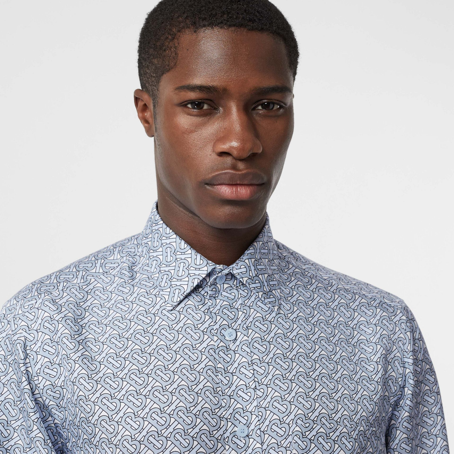 Classic Fit Monogram Print Silk Twill Shirt in Pale Blue - Men | Burberry United Kingdom - gallery image 1