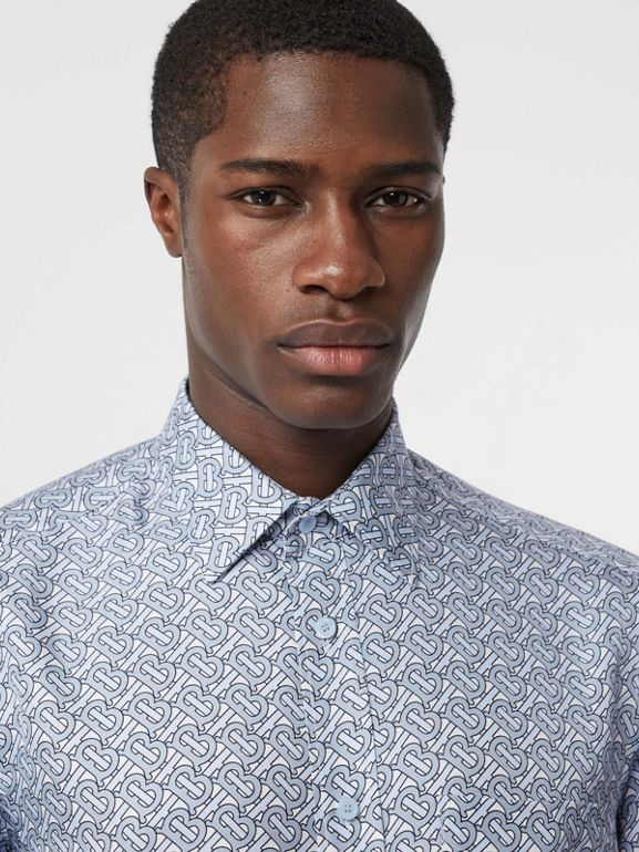 Classic Fit Monogram Print Silk Twill Shirt in Pale Blue - Men | Burberry United Kingdom - cell image 1