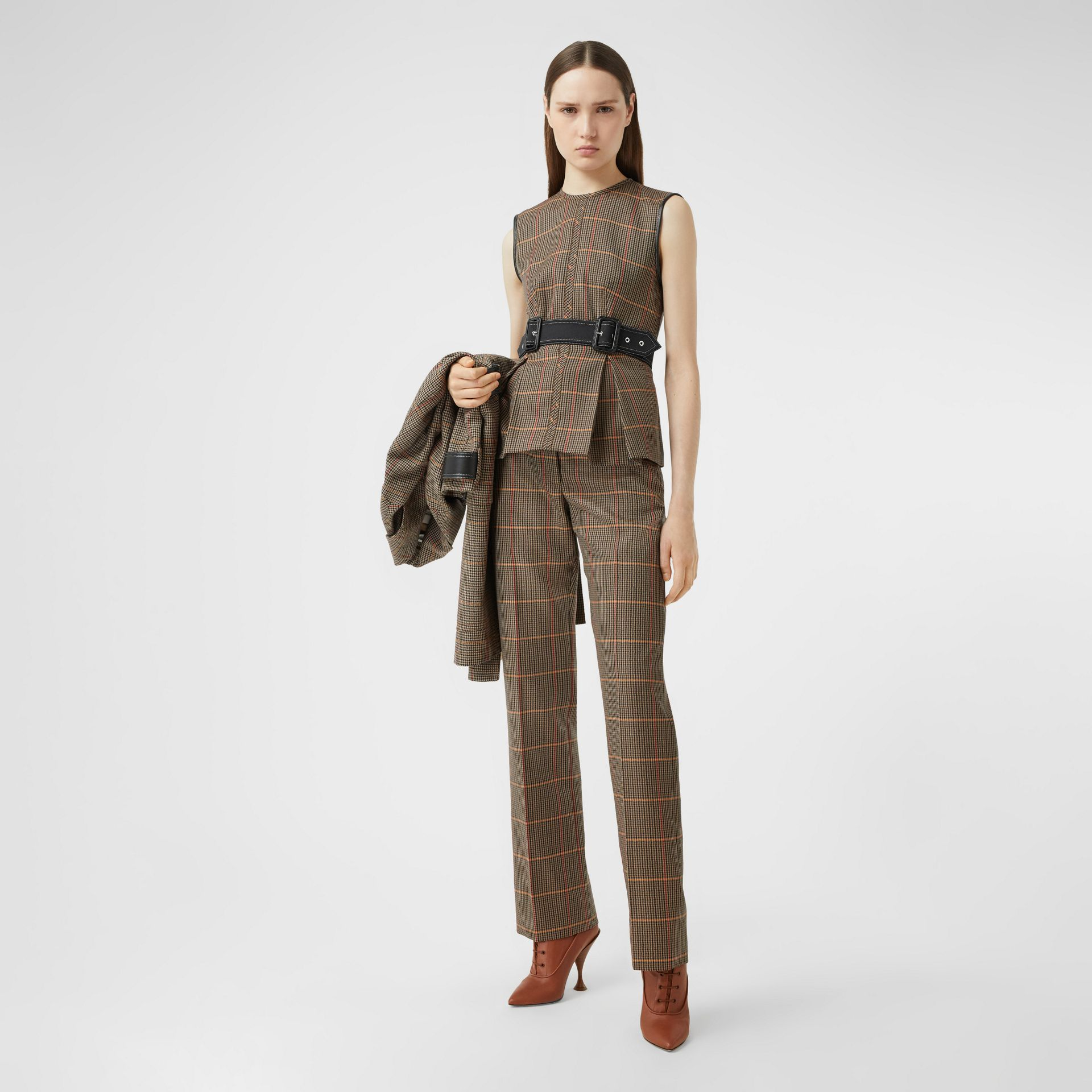 Houndstooth Check Wool Blend Tailored Trousers in Dark Brown - Women | Burberry - gallery image 0