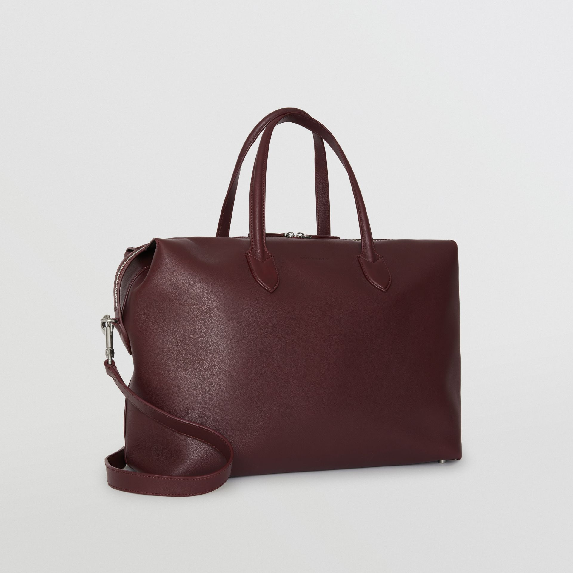 Soft Leather Holdall in Oxblood - Men | Burberry - gallery image 4
