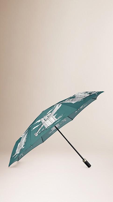 Dark cyan New York Landmarks Folding Umbrella - Image 1