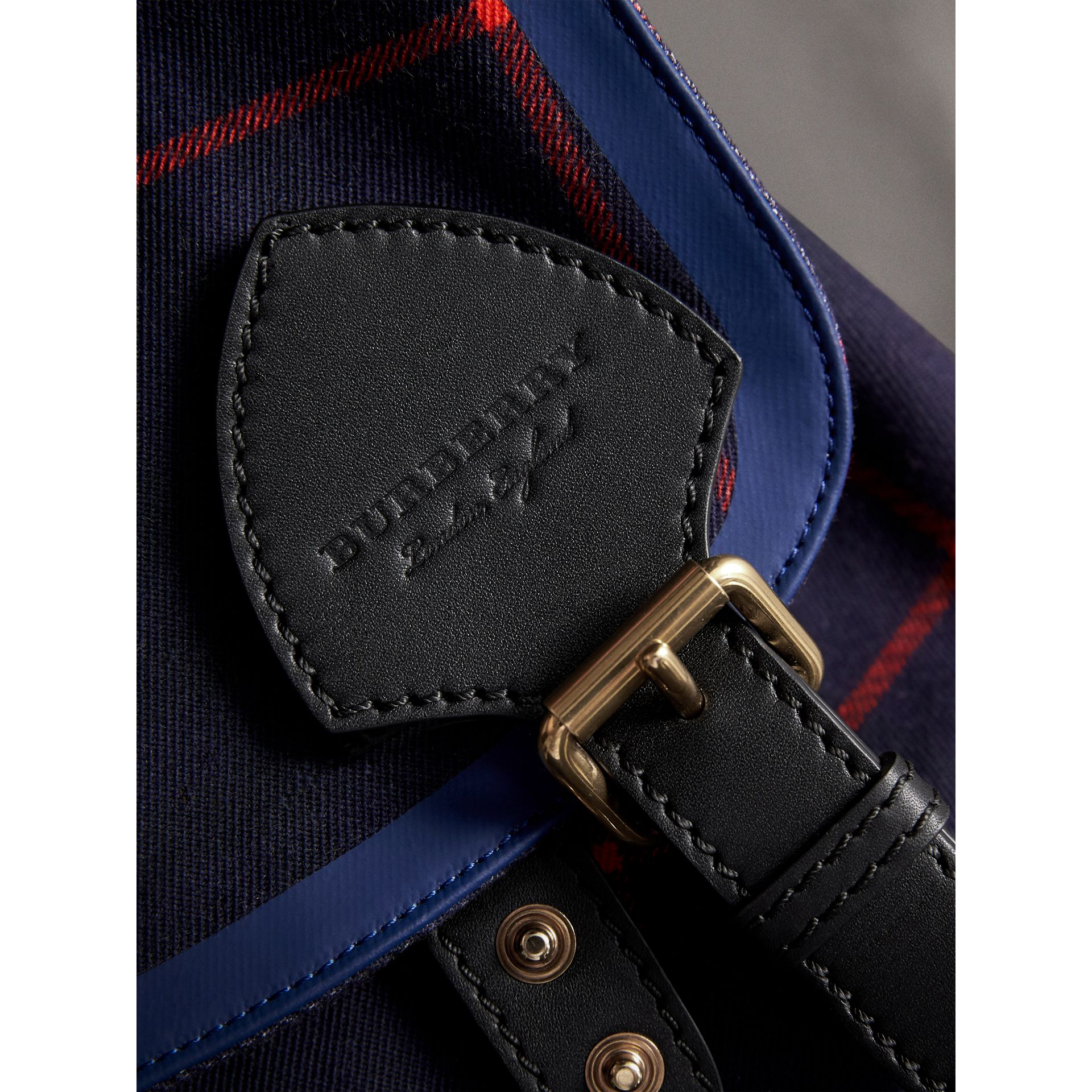 The Large Rucksack in Tartan Cotton in Deep Navy | Burberry - gallery image 2