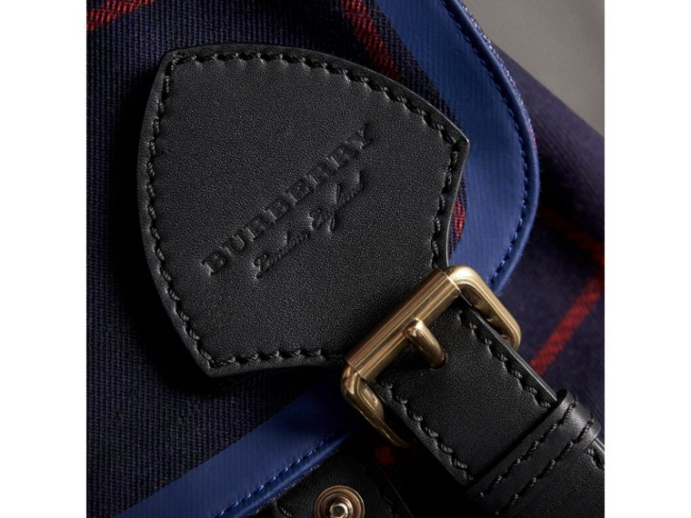 The Large Rucksack in Tartan Cotton in Deep Navy | Burberry - cell image 1