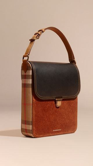 Sacoche medium The Satchel en cuir avec motif House check