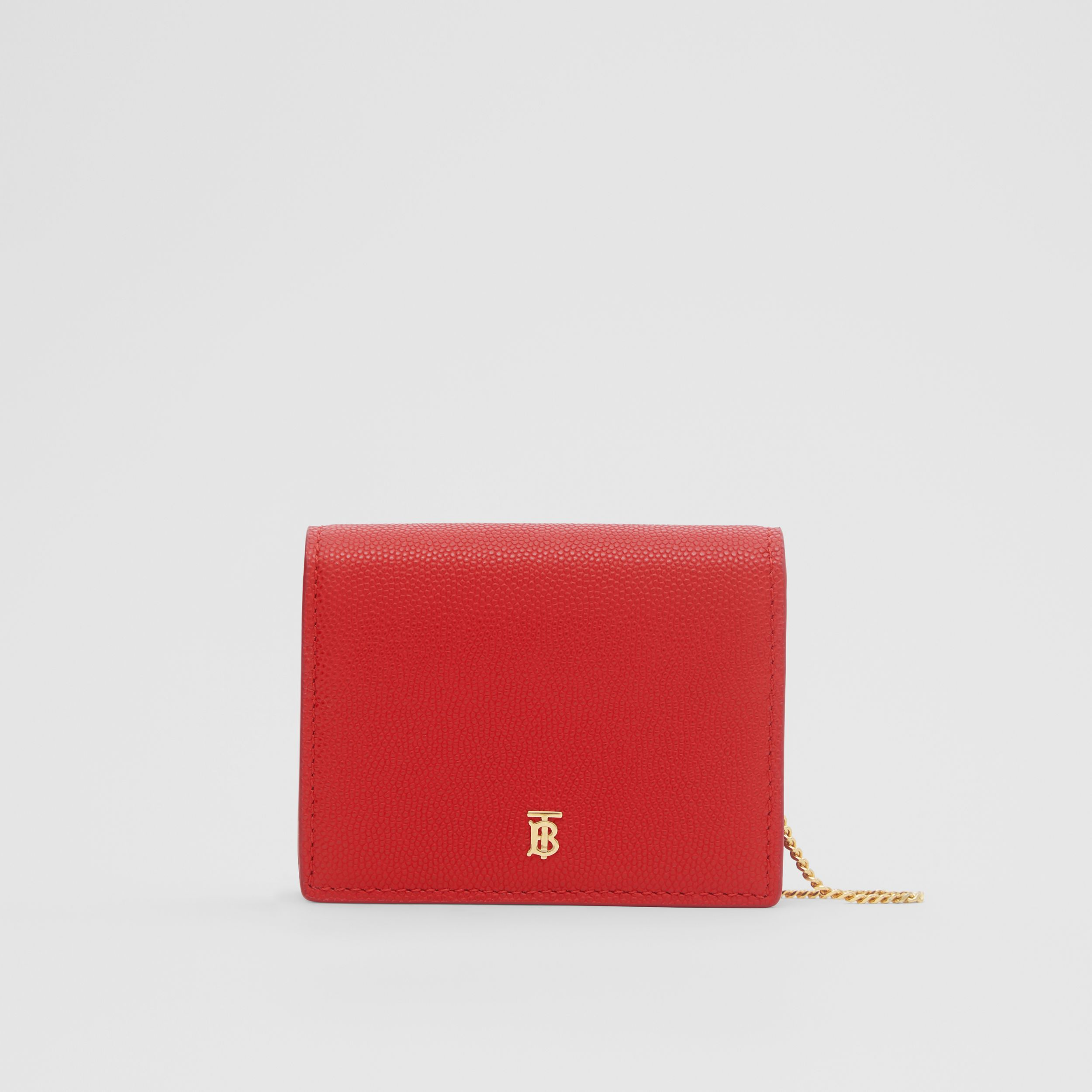 Grainy Leather Card Case with Detachable Strap in Bright Red - Women | Burberry - 1