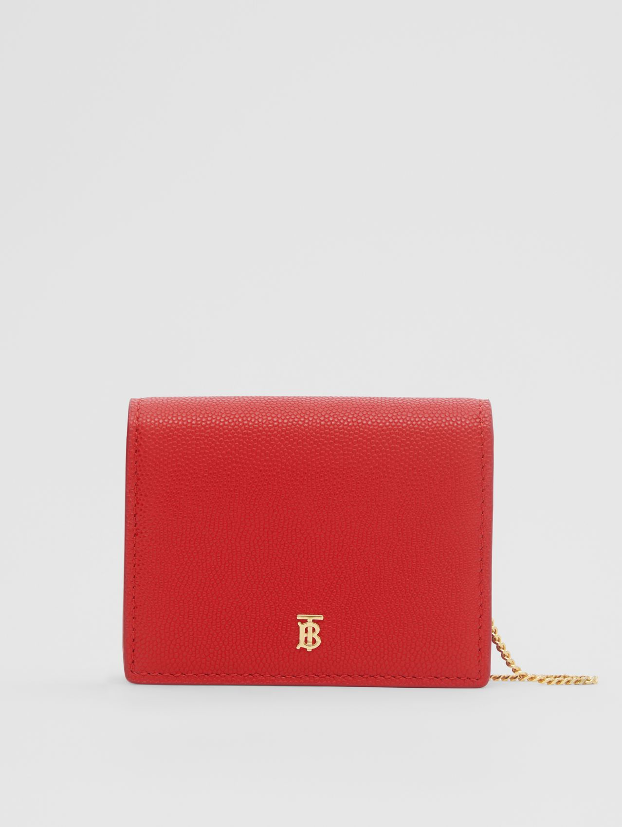 Grainy Leather Card Case with Detachable Strap in Bright Red